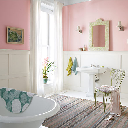 Bathroom painted with Rosy Outlook